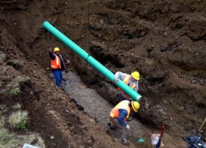 Gravity sewer installation